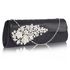 LSE0078 - Black Ruched Satin Clutch With Crystal Flower