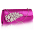 LSE0078 - Purple Ruched Satin Clutch With Crystal Flower