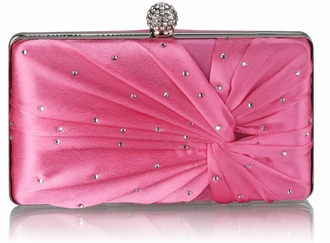 LSE0080 - Pink Satin Crystal Clasp Evening Evening Clutch Bag