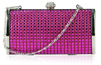 LSE0081 - Pink Sparkly Diamante Evening Clutch