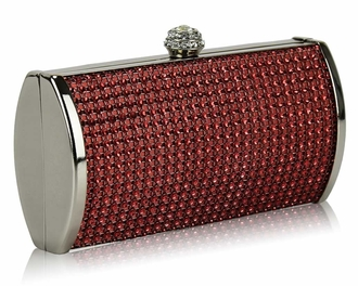 LSE0081 - Red Sparkly Diamante Evening Clutch