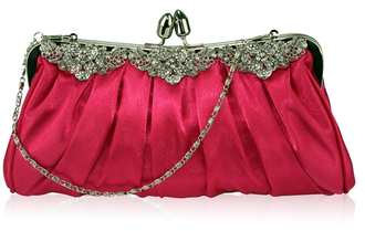 LSE0087 - Pink Crystal Satin Evening Clutch