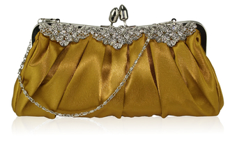 LSE0087 - Gold Crystal Satin Evening Clutch