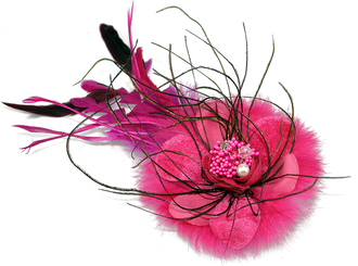 LSH0069-Pink Feather and Flower Hair Clip