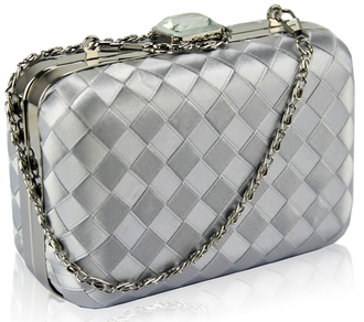 LSE0090 - Gorgeous Silver Hard Case Evening Bag