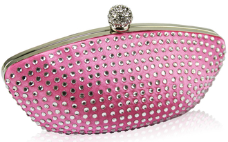 LSE0091 - Pink Diamante Encrusted Clutch Evening Wedding Bag Purse