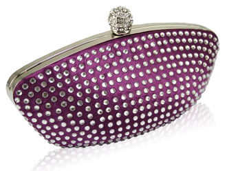 LSE0091 - Purple Diamante Encrusted Clutch Evening Wedding Bag Purse