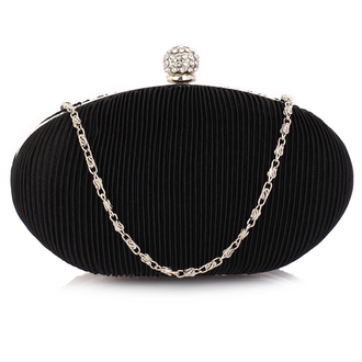 LSE0092 -Black Crystal Satin Evening Clutch