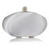 LSE0093 - Gorgeous Silver Crystal Satin Rouched Hard Case Evening Bag