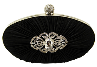 LSE0093 - Gorgeous Black Crystal Satin Rouched Hard Case  Evening Bag