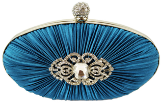 LSE0093 - Gorgeous Teal Crystal Satin Rouched Hard Case Evening Bag