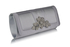 LSE0094 - Silver Crystal Flower Evening Clutch Bag
