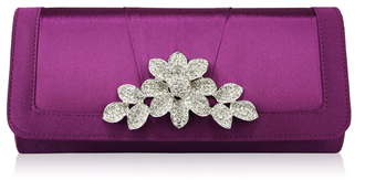 LSE0094 - Purple Crystal Flower Evening Clutch Bag