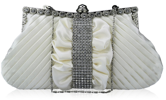 LSE0095 - Ivory Ruched Satin Clutch With Crystal Trim