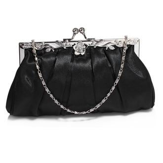 AGC0098 - Black Crystal Evening Clutch Bag