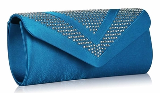 LSE00100 - Blue Diamante Evening Clutch Bag