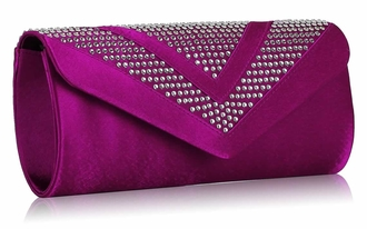 LSE00100 - Purple Diamante Evening Clutch Bag