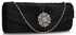 LSE00104 - Black Crystal Flower Satin Clutch