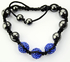 LSB004-Blue Crystal Disco Ball Bead Bracelet