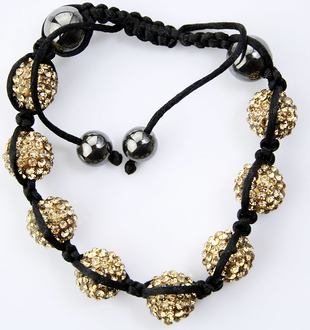 LSB005-Coffee Crystal Disco Ball Bead Bracelet