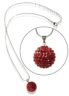 LSN001-Red 18mm Sparkling Disco Ball Necklace