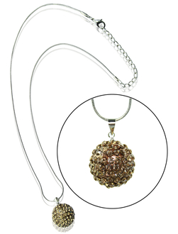 LSN001-Coffee 18mm Sparkling Disco Ball Necklace