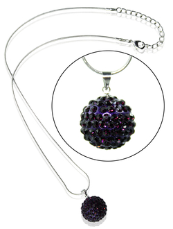 LSN001-Purple 18mm Sparkling Disco Ball Necklace
