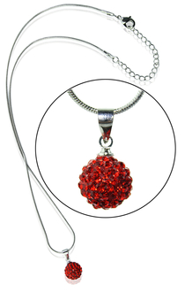 LSN002-Red 10mm Sparkling Disco Ball Necklace