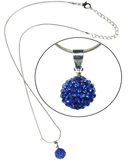 LSN002-Blue 10mm Sparkling Disco Ball Necklace