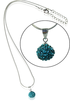 LSN002-Teal 10mm Sparkling Disco Ball Necklace