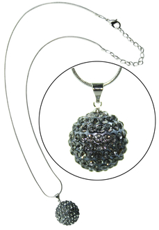 LSN002-Grey 10mm Sparkling Disco Ball Necklace