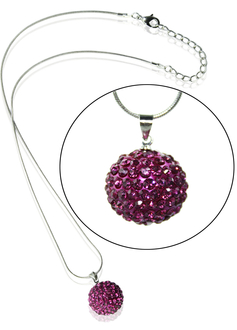 LSN002-Pink 10mm Sparkling Disco Ball Necklace