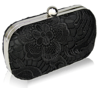 LSE00110 - Classy Black Ladies Lace Evening Clutch Bag