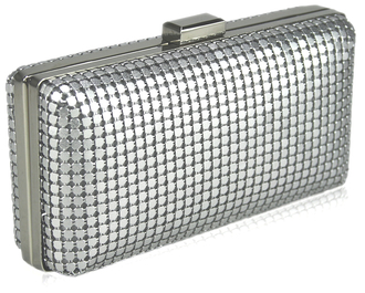 LSE00109 - Silver Hard Case Evening Clutch