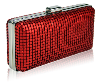 LSE00109 - Red Hard Case Evening Clutch
