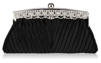 LSE00111 - Black Ruched Satin Clutch With Crystal Decoration