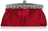 LSE00111 - Red Ruched Satin Clutch With Crystal Decoration