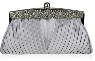 LSE00111 - Silver Ruched Satin Clutch With Crystal Decoration