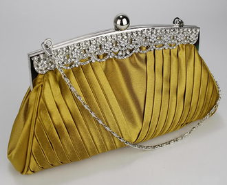LSE00111 - Gold Ruched Satin Clutch With Crystal Decoration