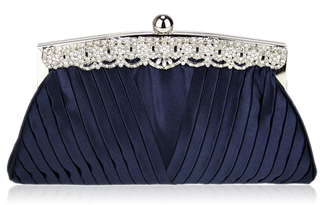 LSE00111 - Navy Ruched Satin Clutch With Crystal Decoration