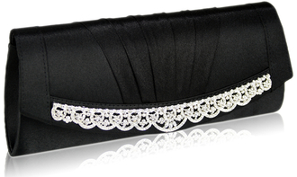 LSE00113- Black Sparkly Crystal Satin Clutch purse