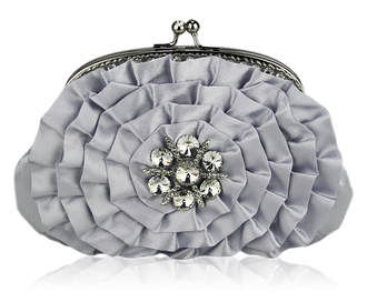 LSE00115- Sparkly Silver Crystal  Flower evening clutch bag