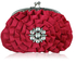 LSE00115- Sparkly Pink Crystal  Flower evening clutch bag