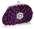 LSE00115- Sparkly Purple Crystal  Flower evening clutch bag