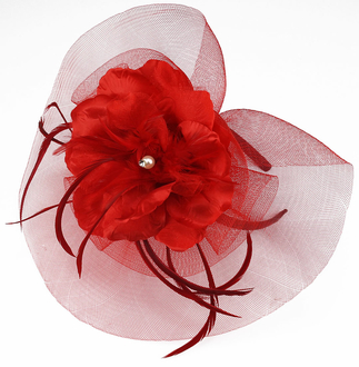 LSH0065- Red Feather & Mesh Flower Clip Fascinator