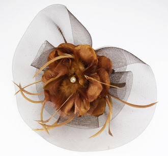 LSH0065- Coffee Feather & Mesh Flower Clip Fascinator