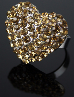 LSR0023-Coffee Heart Shaped Crystal Fahsion Ring
