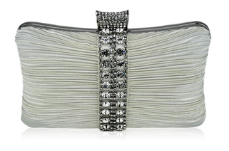 LSE0049 - Wholesale & B2B Gorgeous Ivory Crystal Strip Clutch Evening Bag Supplier & Manufacturer