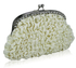 LSE00118- Ivory Sparkly Crystal Satin Clutch purse
