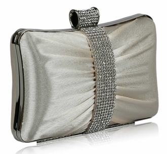 LSE0048 - Gorgeous Beige Crystal Strip Clutch Evening Bag